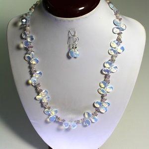 Handmade Nature Moon Cut  Gemstone Necklace